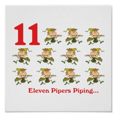 12 Days Of Decorations Uk by 12 Days Eleven Pipers Piping Zazzle