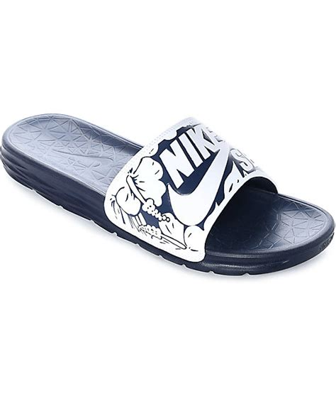 white nike sandals for nike sb benassi solarsoft navy white floral print sandals