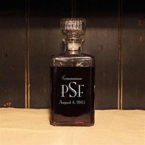 engraved barware monogrammed glass whiskey decanter engraved barware