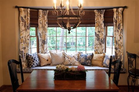 Window Curtains For Dining Room Decor with How To Solve The Curtain Problem When You Bay Windows