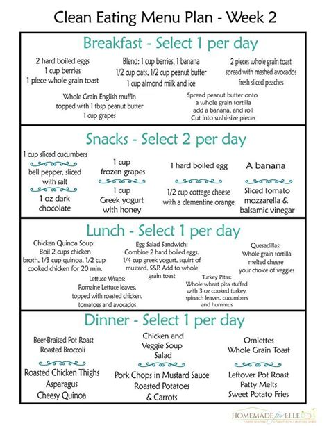 printable healthy eating plan clean eating meal plan 100 free includes breakfast