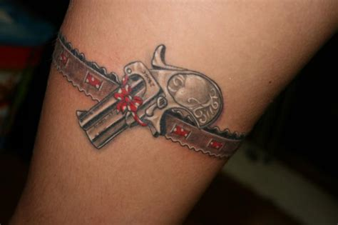 gun thigh tattoos gun thigh garter by wanted