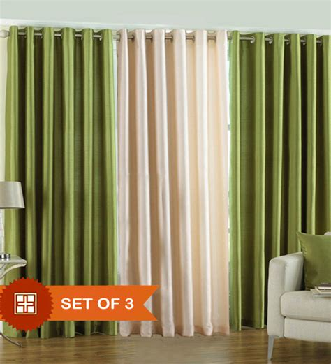 cream green curtains buy pindia cream green polyester solid 84x48 inch door