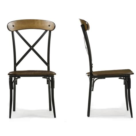 Metal And Wood Dining Chair Set Of 2 Broxburn Wood And Metal Dining Chair 17098501 Overstock Shopping Great Deals