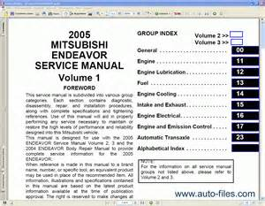 mitsubishi endeavor 2004 2005 repair manuals download