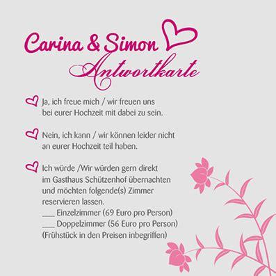 Beispieltext Hochzeitseinladung by Antwortkarten Florale Elemente In Brombeer