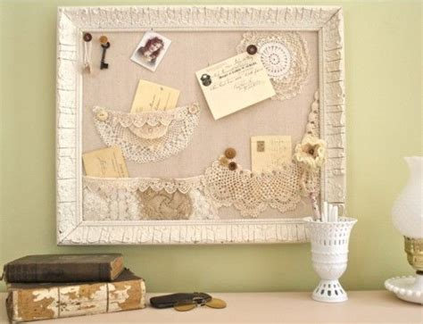 make a shabby bulletin board with lace pockets for the home pinterest shabby chic