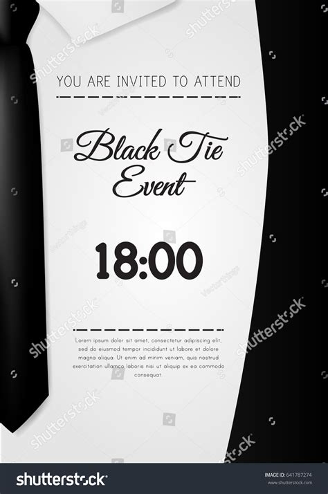 A4 Elegant Black Tie Event Invitation Stock Vector 641787274 Shutterstock Black Tie Event Program Template