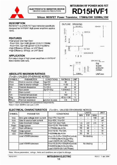 transistor rd15hvf1 datasheet rd15hvf1 336051 pdf datasheet ic on line