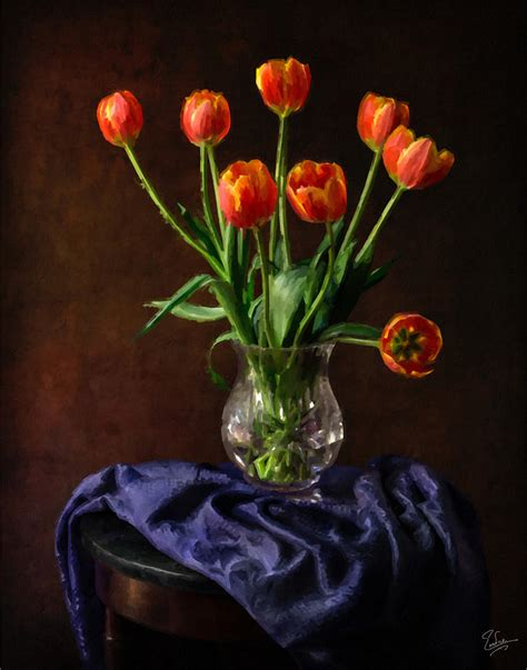 Bag Vase Tulips In A Vase Faux Oil Painting Photograph By Endre Balogh