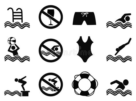 clipart nuoto icone di nuoto messe illustrazione vettoriale