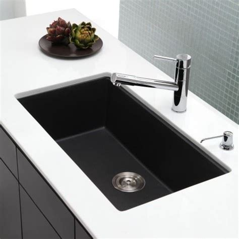 black undermount kitchen sinks kraus kgu 413b 31 undermount single bowl black onyx