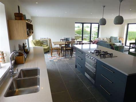 Kitchen Island Light slate gray and oak bespoke kitchen by peter henderson