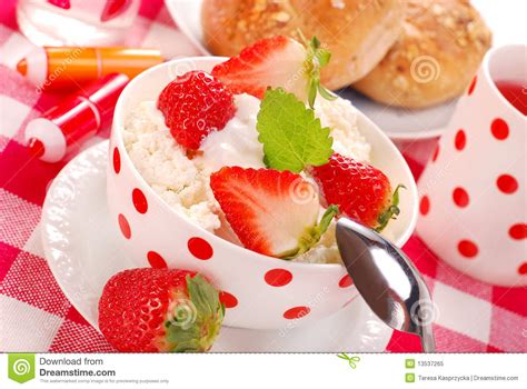 Cottage Cheese And Strawberries by Breakfast With Cottage Cheese And Strawberries Royalty