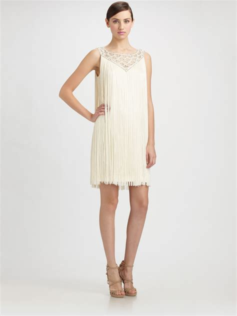 fringe beaded dress badgley mischka beaded fringe sheath dress in white lyst