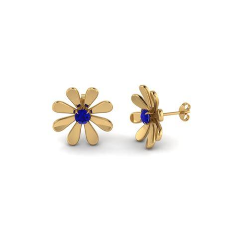 Blue Flower Stud Earrings Gold blue sapphire earrings fascinating