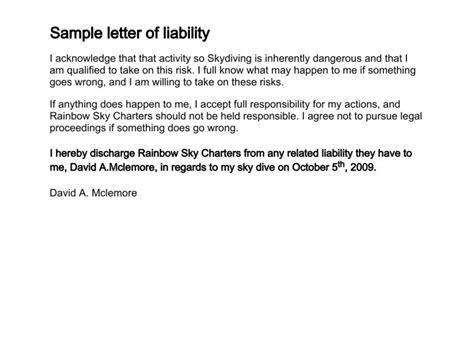 No Responsibility Disclaimer Letter Resume Cover Letter No Responsibility Disclaimer Template