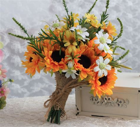 Wedding Bouquet Stores by 2016 Country Style Artificial Sunflower Wedding Bouquet