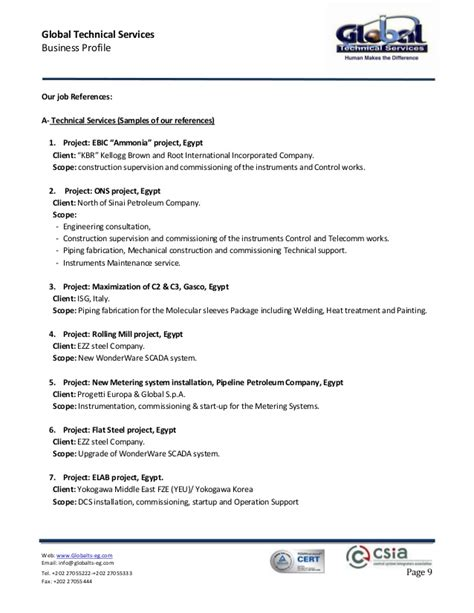 Job Resume Descriptions by Global Technical Services Company Profile