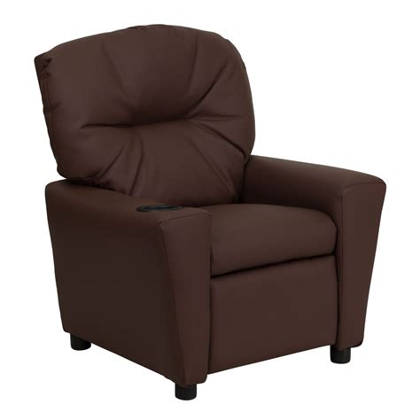 Youth Recliner Chairs Flash Furniture Bt 7950 Kid Brn Lea Gg Contemporary Brown Leather Recliner With Cup Holder