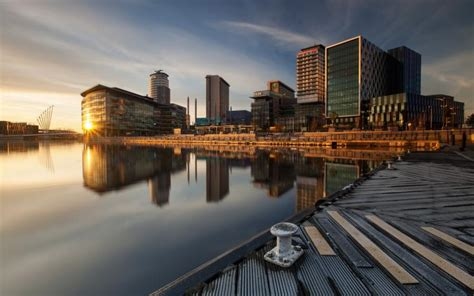 hd early morning   city harbor waterfront wallpaper