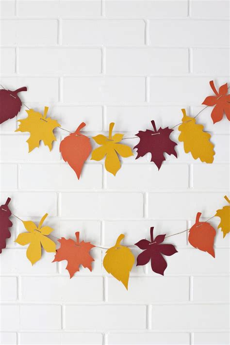Make Your Own Paper Garland - diy paper leaf garland print the template to make your
