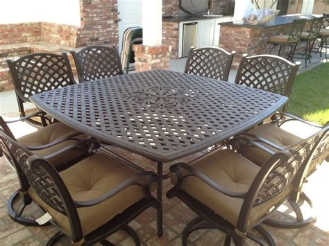 nassau cast aluminum powder coated 8 person patio dining
