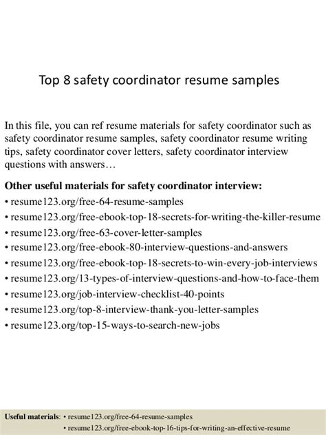 top 8 safety coordinator resume sles