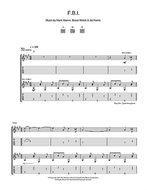 F.B.I. Guitar Tab by The Shadows (Guitar Tab ? 108404)