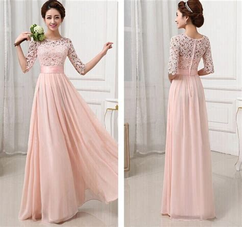 formal long sleeve lace prom dress fashion women sexy cute half lace sleeve chiffon hollow