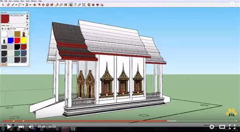 sketchup pro2015 how to create house model in 1 30 hour watch how to create thai temple model in sketchup pro 2015