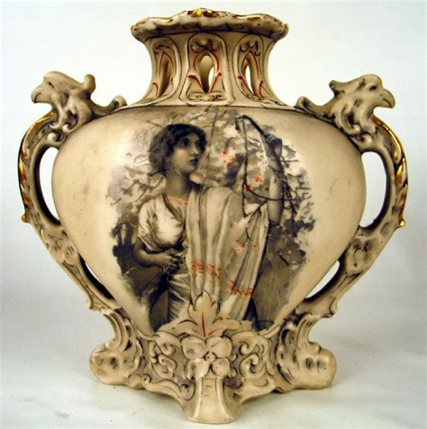 royal dux reticulated bohemia vase w griphons
