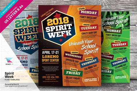 Spirit Week Flyer Templates By Kinzi21 Graphicriver Free Spirit Week Flyer Template