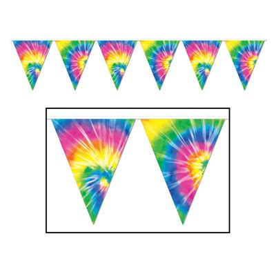 Home Decor Deal Sites 1960s theme decorations party supplies tiedyed pennant