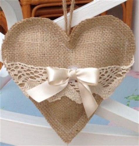 Handmade Hearts Crafts - handmade hessian burlap hanging hearts shabby chic