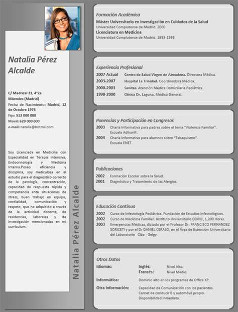 Plantillas De Curriculum Vitae Para Medicos Cv M 233 Dico Enfermera 38 Cvexpres