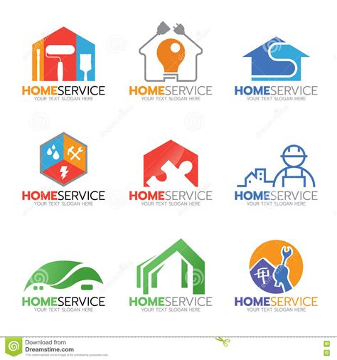 home design services online home service and repair logo illustration set design stock
