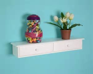 white floating shelf with drawers modern los angeles