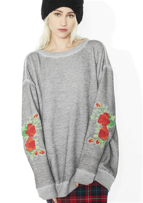 Roses Embriodery Sweater by Wildfox Couture Roses Embroidery Roadtrip Sweater Dolls Kill