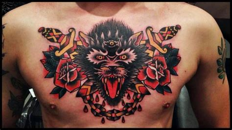 100 wolf and dagger tattoo traditional wolf and