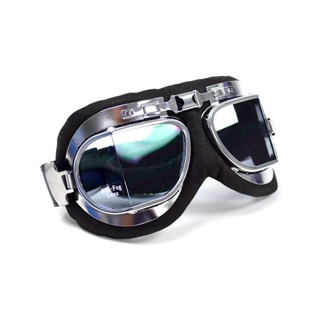 Classic Goggle Black Leather Chrome Lens classic pilot aviator style split lens motorcycle goggles black leather ebay