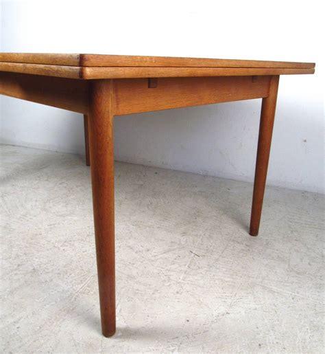 mid century modern draw leaf oak dining table by hans