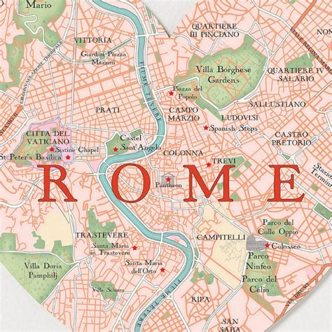 rome italy map map of rome with major places sights