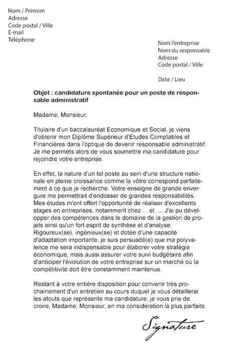 Exemple De Lettre De Motivation Pour Emploi Administratif 9 Lettre De Motivation Candidature Spontan 233 E