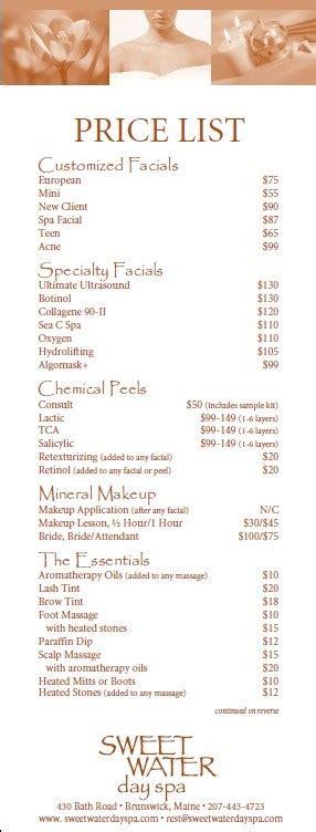 10 Free Sle Spa Price List Templates Printable Sles Salon Price List Template
