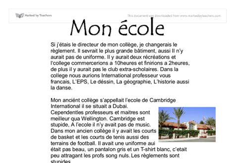 Mon College Ideal Essay mon ecole gcse modern foreign languages marked by teachers