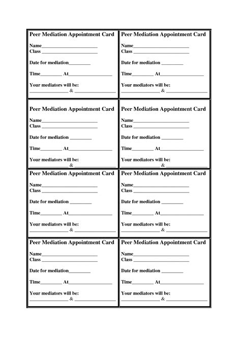 sle appointment card template 9 best images of reminder card templates printable