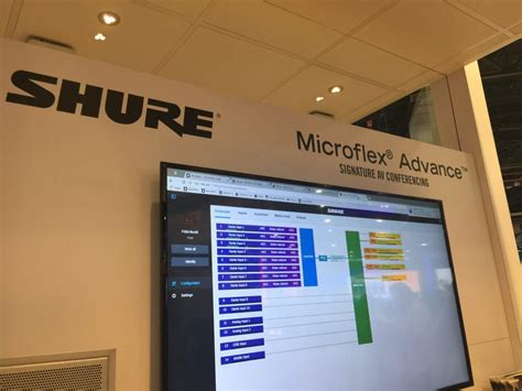 conference room systems shure microflex advance conference classroom microphone system nab 2017 show report