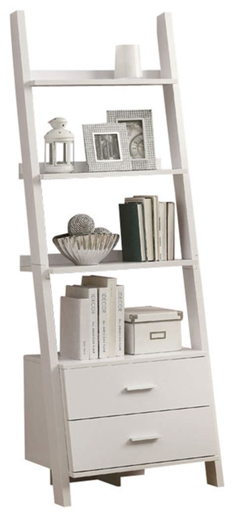 Monarch Specialties 2562 Ladder Bookcase With 2 Storage White Ladder Bookcase With Drawers