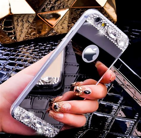 Iphone 4g Softcase Chrome Miror Cover Silikon i6 6s 6 plus fashion bling glitter mirror for iphone